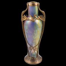 "Extraordinary  Loetz Vase Phenomen Gre 299 ""Tricolor"" Metal Mount, ca 1901"