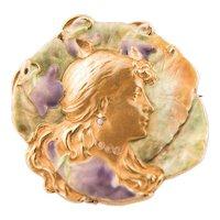Art Nouveau Brooch & Pendant French ca. 1900 Enamel Brilliant 14k Gold stamped