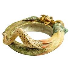 Riessner, Stellmacher & Kessel Amphora Turn- Teplitz Bowl with Dragon designed  1899-1900