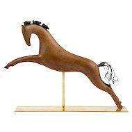 Werkstatte Hagenauer Vienna Galloping Horse Precious Wood Brass partially patinated ca. 1950 marked