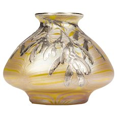 Early Signed Silver Overlay Phenomen Gre 85/3780 Vase by Johan Loetz, ca 1900