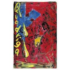 "Jörg Immendorf ""Quadriga"" (Café Deutschland) linocut, acrylic on paper 1983"