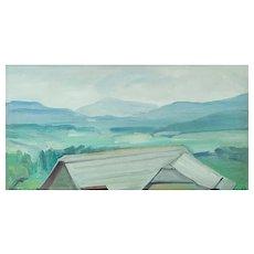 """Arnold Clementschitsch """"Landschaft aus dem Lungau"""" oil on canvas on cardboard 1958"""