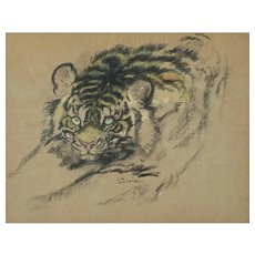 "Ludwig H. Jungnickel ""Tiger""graphite carbon watercolor signed ca. 1930"
