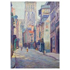 "Rudolf Quittner ""Rouen Cathedral"" oil on canvas ca. 1900"