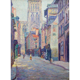 """Rudolf Quittner """"Rouen Cathedral"""" oil on canvas ca. 1900"""
