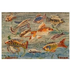"""Franz von Zülow (Vienna 1883 – 1963 Vienna) """"Fishes"""" paste technique 1954"""