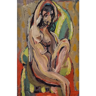Bohumir Matal expressionist nude oil on panel signed 1954