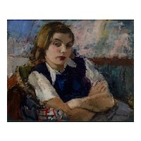 "Austrian Art Portrait ""Ingrid"" Sergius Pauser Neue Sachlichkeit circa 1942 Oil"
