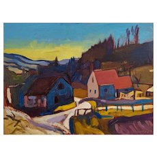 Austrian Classical Modernism Landscape Painting Oil on Wood Josef Dobrowsky