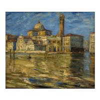 German Landscape Painting Oil on Canvas Otto E. Pippel Venice Italy