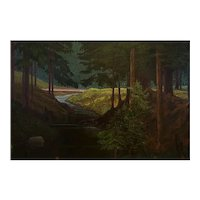 "Austrian Landscape Painting Kahrer ""Waldbach am Gsollgraben"" Oil on Wood 1935"