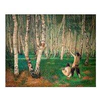 Painting The Birch Forest Karl Mediz Austrian Classical Modernism Symbolism 1894
