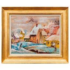 Franz von Zülow New Year's Day oil on cardboard 1946 signed, framed
