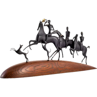"""The Hunt"" equestrian sculpture Werkstatte Hagenauer Wien wooden base patinated brass circa 1930s Austrian Jugendstil"