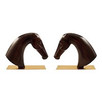 Two Horse Head Sculptures Werkstatte Hagenauer Vienna Wood Brass 1950s Austrian
