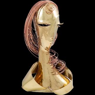 Brass Female Bust Franz Hagenauer Werkstatte Hagenauer Wien early 1980s Austrian