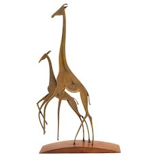 Giraffe family Werkstätte Hagenauer brass cast and patinated wood ca. 1950 marked