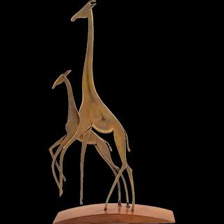 Giraffe family Werkstätte Hagenauer brass cast and patinated wood ca. 1950 marked