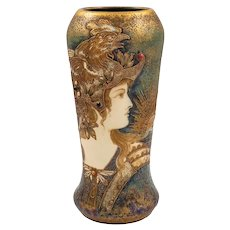 Amphora Portrait Vase Allegory of France Ivory Porcelain circa 1903 Bohemian