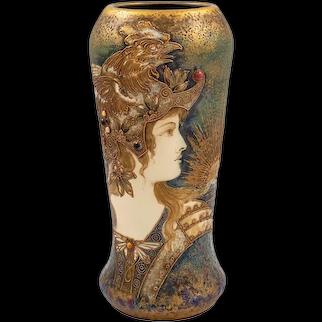 Amphora Portrait Vase Allegory of France Ivory Porcelain circa 1903 Bohemian