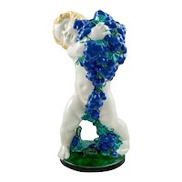 Colorfully glazed ceramics Putto with grapes Michael Powolny Austrian Jugendstil circa 1907 Allegory of Autumn