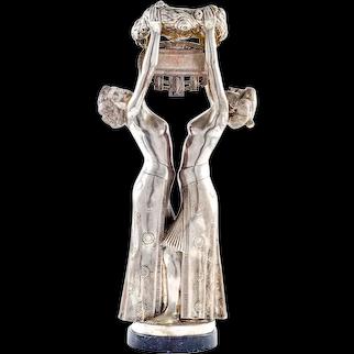 Austrian Jugendstil Figurine Gustav Gurschner Bronze Silver-plated circa 1903