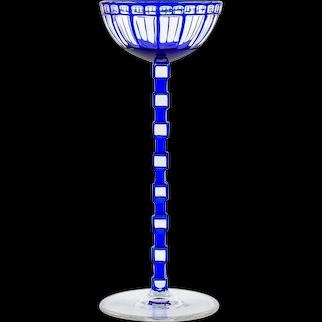 Austrian Jugendstil Wine Glass Otto Prutscher Blue circa 1908 Meyr's Neffe