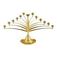 Candelabra German Jugendstil Bruno Paul Cast and Polished Brass circa 1901