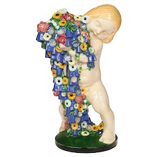 "Michael Powolny Four Seasons Putto ""Spring"" Gmundner Keramik 1923-32"