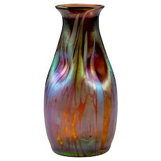 Austrian Jugendstil Mouthblown Glass Vase Brown circa 1902 Johann Loetz-Witwe