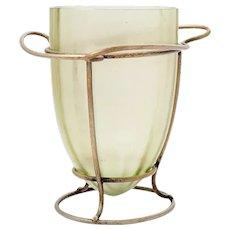Vase Austrian Jugendstil Loetz Mouth-Blown Glass Metal Mounting circa 1902