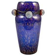 Vase Austrian Jugendstil Loetz Mouth-Blown Glass circa 1910 Berries Blue Shiny