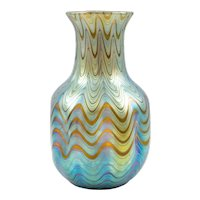 Vase Austrian Jugendstil Loetz Mouth-Blown Glass circa 1899 Blue Yellow