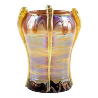 Austrian Jugendstil Loetz Art Glass Vase Orange circa 1901 Koloman Moser School