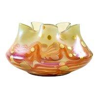 Austrian Jugendstil Loetz Art Glass Bowl Orange Red Iridescent circa 1902