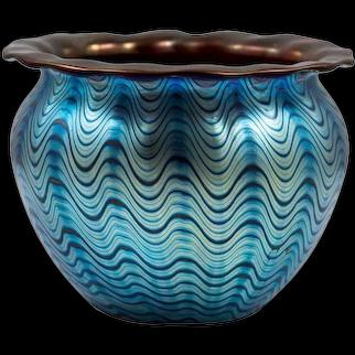 Loetz, early Vase Decor Cobalt Phenomen Gr 6893 red undercoating, ca 1899