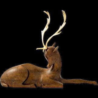 Werkstatte Hagenauer fallow deer brass and wood figurine ca. 1930