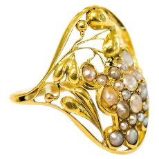 Unique gold and freshwater pearl ring Josef Hoffmann Wiener Werkstatte 1912