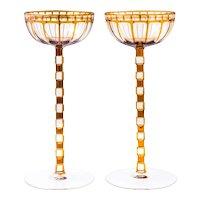 Otto Prutscher pair of rare wine glasses Wiener Werkstatte circa 1908 Meyr's Neffe