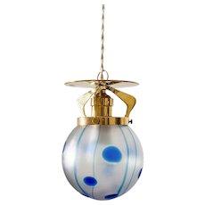 Viennese Hanging Lamp ca. 1902 Loetz shade Streifen und Flecken