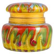 Loetz Lidded Jar Phenomen Genre 413 for E. Bakalowits ca. 1902