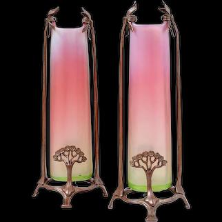 Rare pair of vases by Loetz in metal mount ca. 1903
