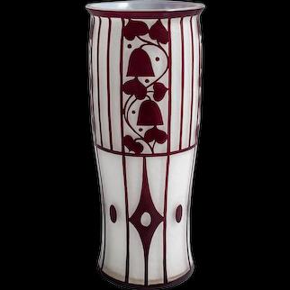 Loetz Vase Josef Hoffmann Opal aussen Ruby 1912