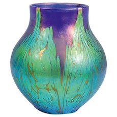 Loetz Vase Medici Decoration blue opal ca. 1900
