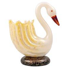 Rare flower vase in the shape of a swan Loetz ca. 1905