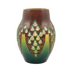 Vase attributed to Adolf Beckert Loetz etched enamel painted ca. 1911
