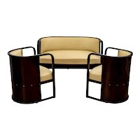 Austrian Jugendstil Sitting Room Suite Wood Leather Josef Hoffmann circa 1906
