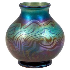 Blue Vase Decorated Art Glass Louis Comfort Tiffany New York 1900
