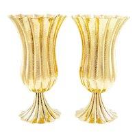 Amazing pair Josef Hoffmann vases brass Wiener Werkstatte ca. 1920s